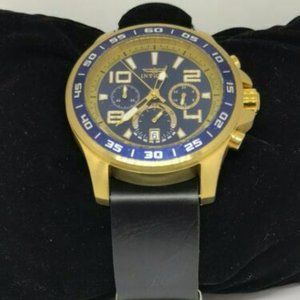 Invicta Mens Leather Gold Case Blue Dial Watch Y39